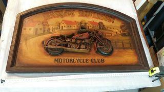 Cuadro vintage Harley Davidson en relieve 60x40
