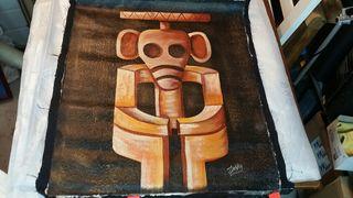 Lámina cuadro sobre tela pintado a mano 60x51.
