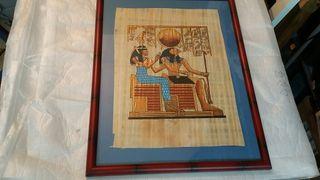 Cuadro papiro egipcio 51x40 pintado a mano