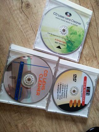 CDs y DVD limpiadores de lente.