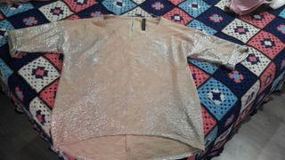 camisa dorada fiesta Zara
