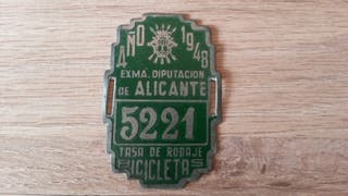 Tasa rodaje bicicleta Diputación Alicante de 1948