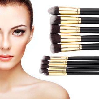 10 Brochas pinceles maquillaje set juego de madera
