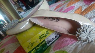 Zapatos Pitillos tacón piel mujer beige 36