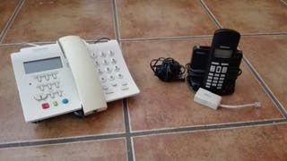 Teléfono fijo e inalámbrico.