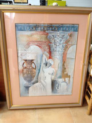 Cuadro litografia antigua marco lujo.