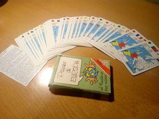 juego de cartas países de Europa años 90
