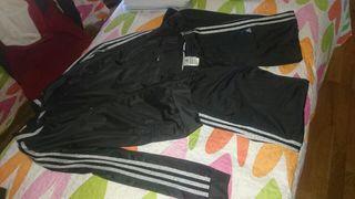 Chandal negro y plata Adidas M