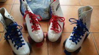 patines bota cordón azul 35-36