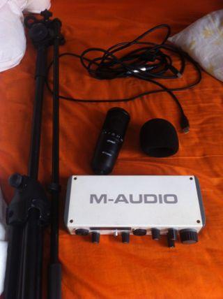 Estudio grab: Tarjet Sonido + Micro + Cables y pie