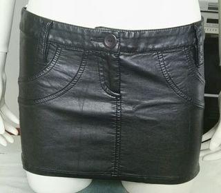 Minifalda cuero sexy gótico polipiel S nueva