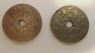 Monedas (2) 25 céntimos 1927. Govierno Prov.