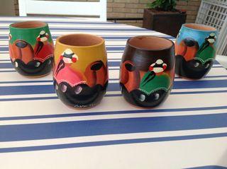 4 vasos de cerámica made in de Perú pintados a mano