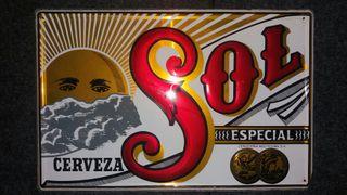 cartel de chapa cerveza sol