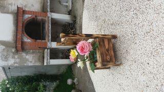 silla macetero de madera de pino