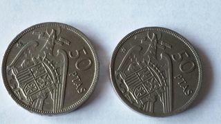 Monedas de 50 pesetas.