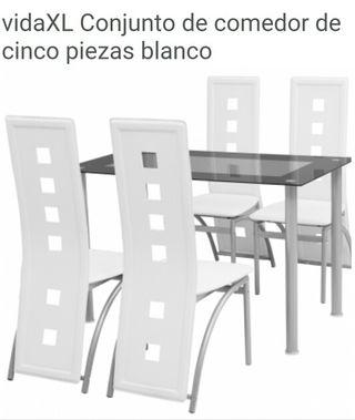 conjunto comedor mesa y silla,banco,marron,negro