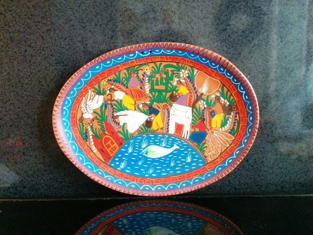 Fuente barro pintada a mano