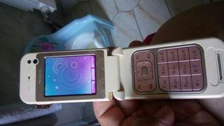 teléfono Nokia 7390 blanco y rosa movístar