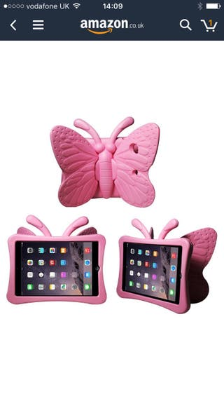 iPad pink butterfly kids case brand new