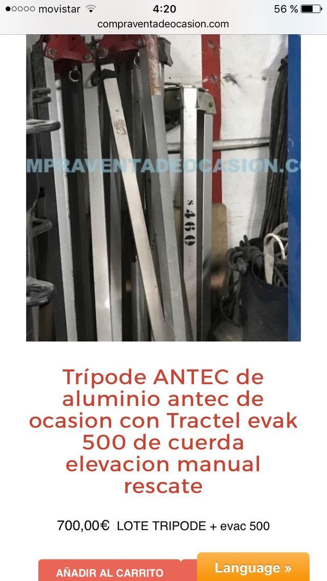 Lote Tripode rescate antec y tractel evak 500