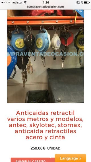 Anticaidas retractil antec sxylotec y stomax .