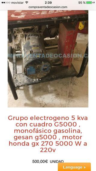 Grupo luz electrogeno 5kv con magnetotermico