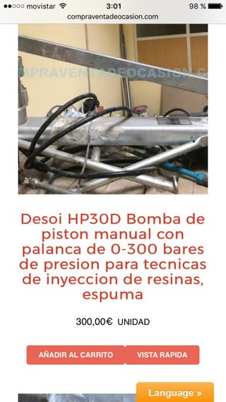 Bomba piston manual desoi HP30D 0/300 bares