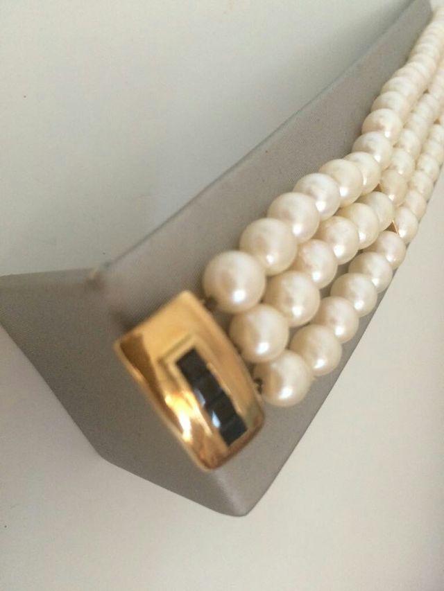 Pulsera perlas naturales , oro y zafiros