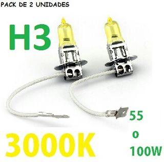 PACK DE 2 BOMBILLAS HALOGENAS h3 AMARILLAS 100W