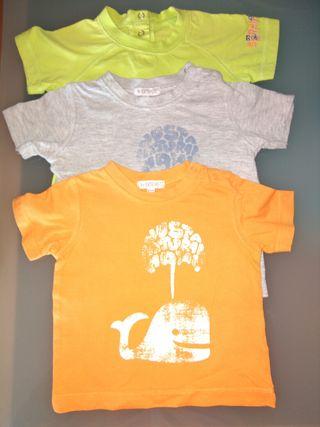 Lote 3 camisetas 3-6 meses.