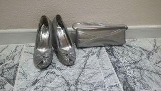 Zapatos tacon color plata num 37 bolso a juego