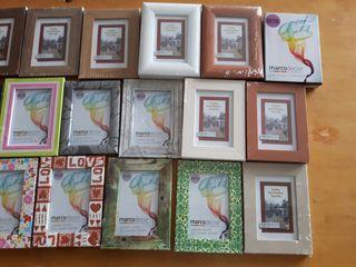 lote 33 portafotos de madera y cristal 9 x 13. Art