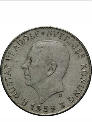 moneda antigua 1959 plata 5kr