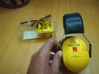 Cascos protección auditiva+ gafas