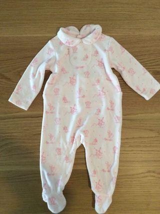 Pijama blanco con dibujos rosas 3-6 meses