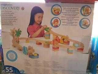 circuito madera canica niños
