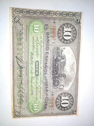 BILLETE 10 Pesos 1896 BANCO ESPAÑOL ISLA DE CUBA