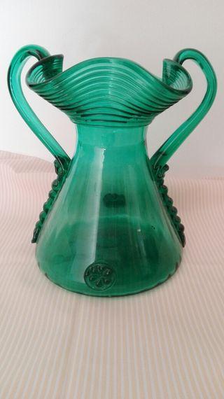 Antiguo,vintage jarron cristal verde