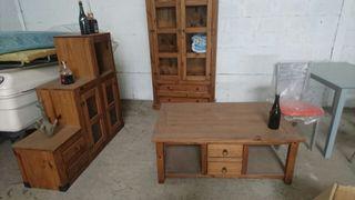 Conjunto muebles rustico pino mazizo