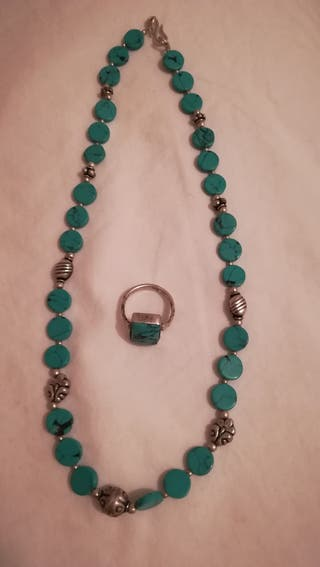 Conjunto turquesa collar y anillo