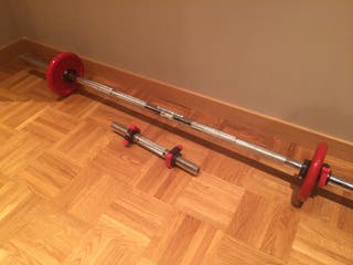 Barra alzamiento + mancuerna + 2 discos 3 kg