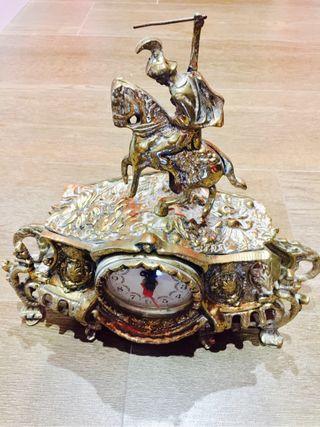 Reloj y 2 candelabros bronce