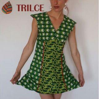 Vestido verde Cuñas esparto