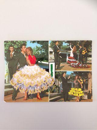 Postal bordada flamencas España