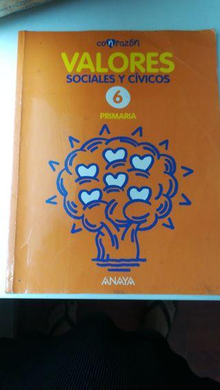 Libro de texto valores, Anaya 6°primaria