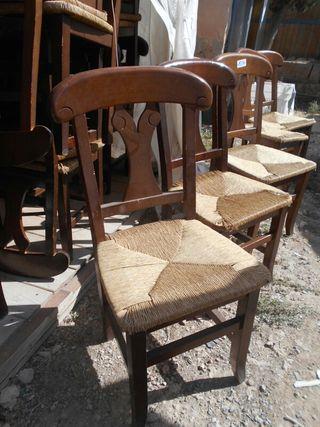 sillas de madera de enea, mucha cantidad