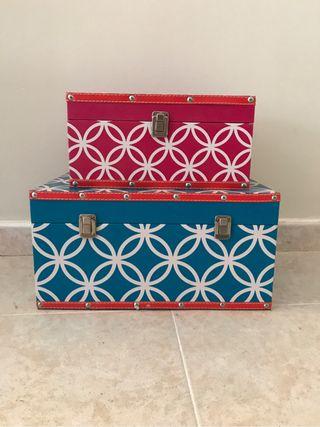 2 Cajas baúl maletin piel decorativas