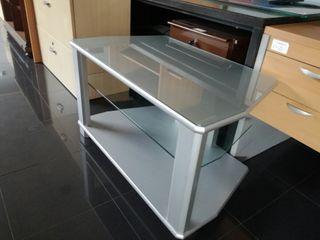 mesa tv con ruedas y leja cristal