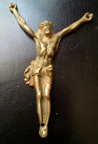 antiguo cristo bronce